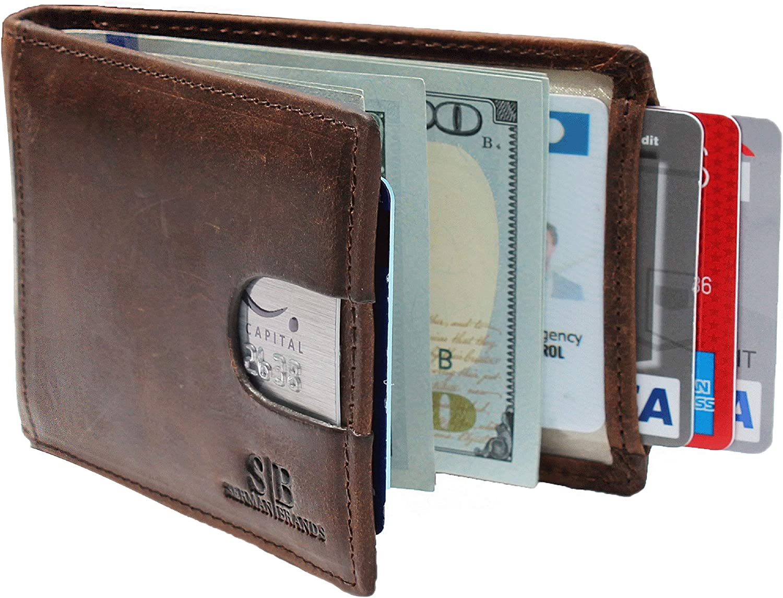 Money Clip Full-Grain Men/'s Wallet Slim RFID Blocking Genuine Leather Bifold