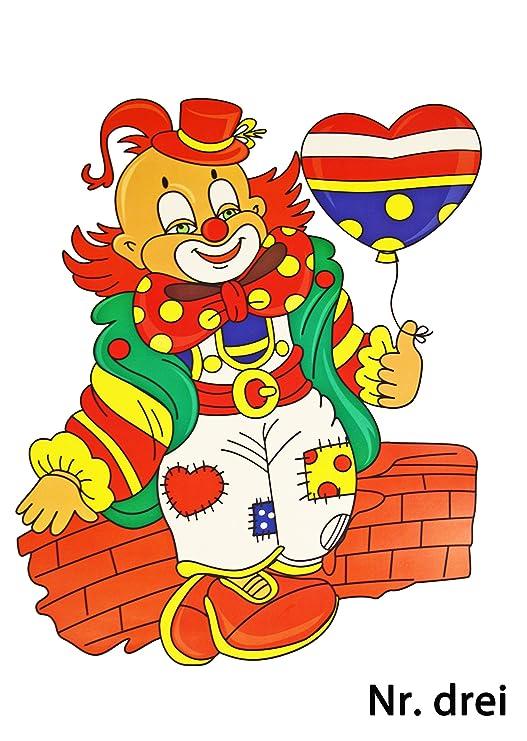 Karnevals Gigant Fensterbilder Clown Gesamtbogen Ca 85x57cm