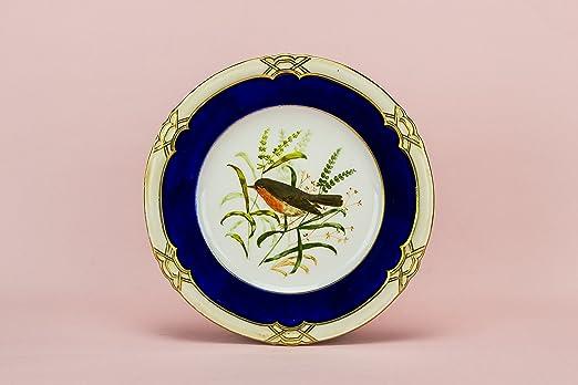 Azul y blanco elegante porcelana pájaros 9,4