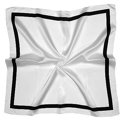 Écharpe Carrée En Soie En Blanc Noir Et Carré