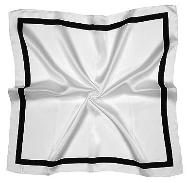 Écharpe Carrée En Soie En Blanc Noir Et Carré  Amazon.fr  Vêtements ... ebb6ddc562f