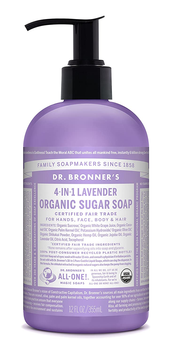 Dr. Bronner's Organic Baby Unscented Sugar Soap. 4-in-1 Organic Pump Soap for Home and Body (12 oz) 704