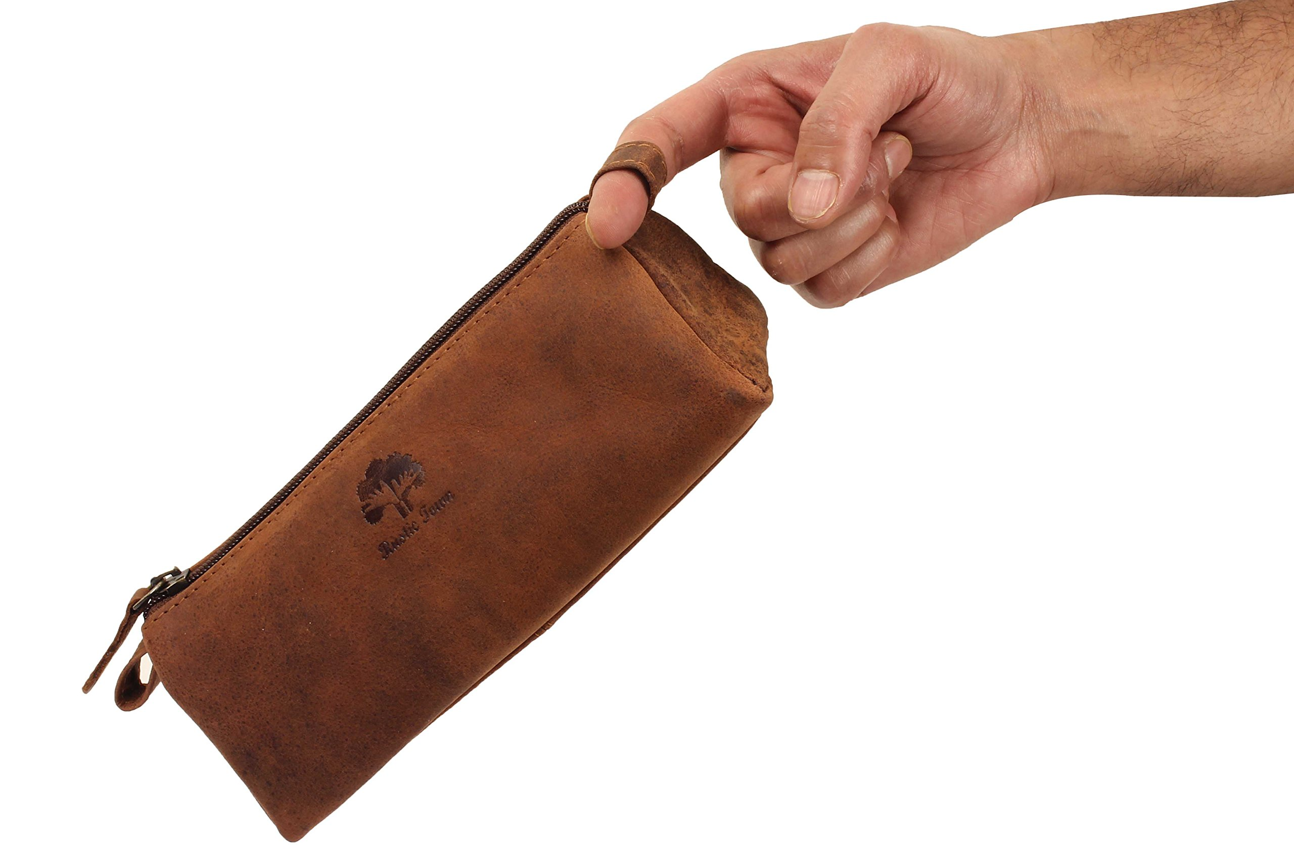 Leather Pencil Case - Zippered Pen Pouch for School, Work & Office by Rustic Town by RusticTown (Image #8)