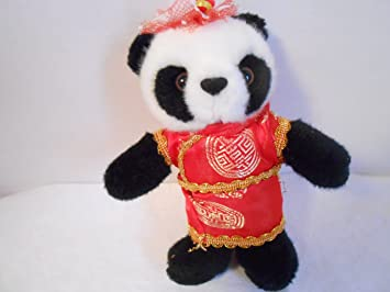 Amazon.com: Panda de peluche en traje asiático tradicional 7 ...
