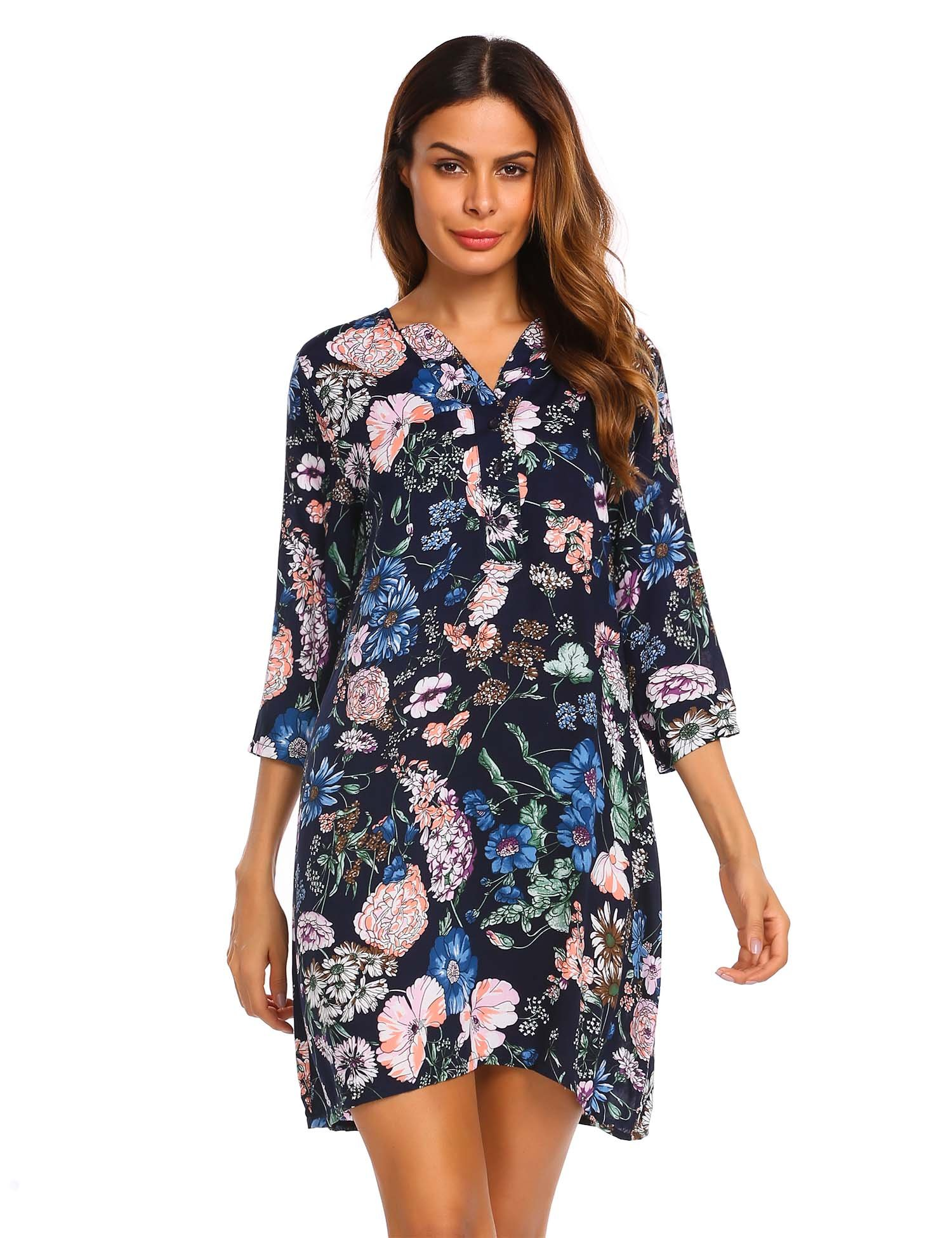 ACEVOG Women's Ethnic Styles Printed Floral Loose Summer Beach Dress (Navy Blue,S) by ACEVOG