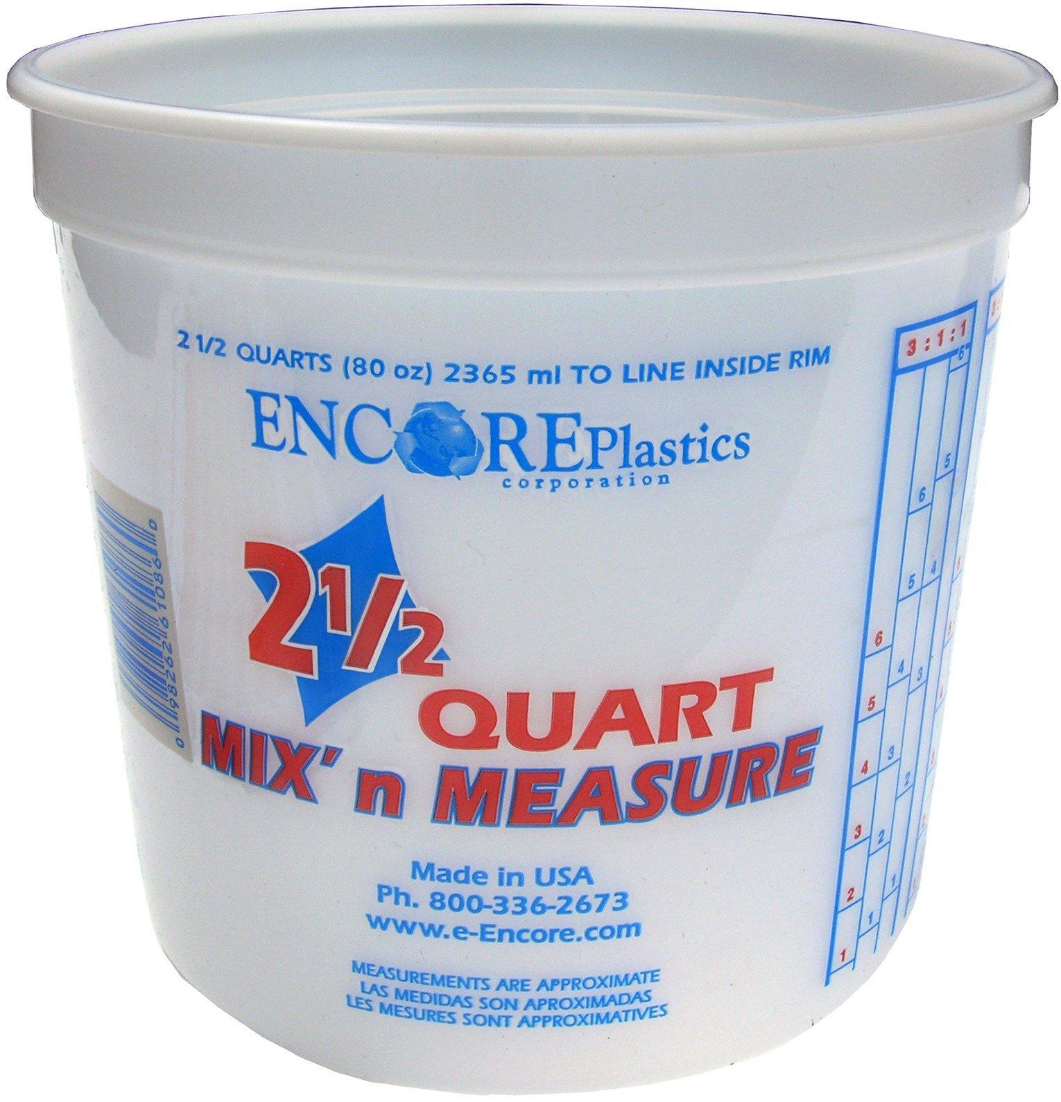 Encore Plastics LS61086 2.5 Quart Mix' N Measure Container Comes Without Lids - (Pack of 12)