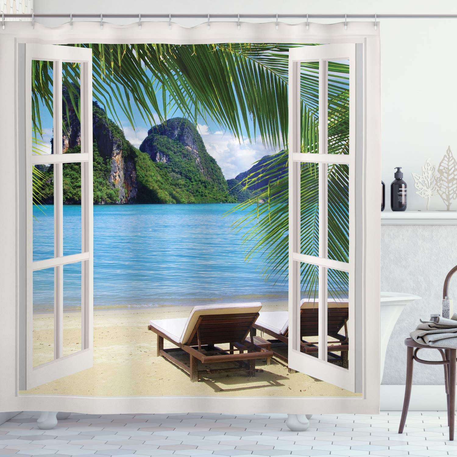 Ambesonne Beach Shower Curtain, Palm Trees in Ocean Heaven Sunbeds Balcony White Wooden Windows Summer Tropical, Cloth Fabric Bathroom Decor Set with Hooks, 70