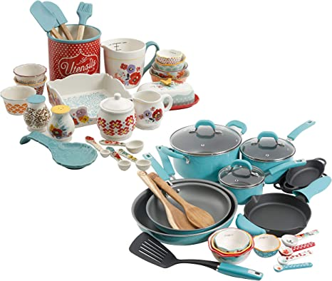Amazon Com The Pioneer Woman Vintage Speckle 24 Piece Cookware Combo Set In Turquoise Bundle With Copper Charm Stainless Steel Copper Bottom Cookware Set 10 Piece Kitchen Dining