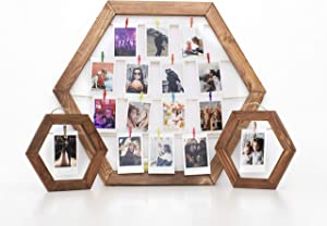 Pixogo Picture Frame Collage for Wall Decor - Hanging Photo Display with Clips and String Light, Family Multi Picture Frame and 2 Mini Polaroid Frame Picture Holder Collage Photo Frames Set