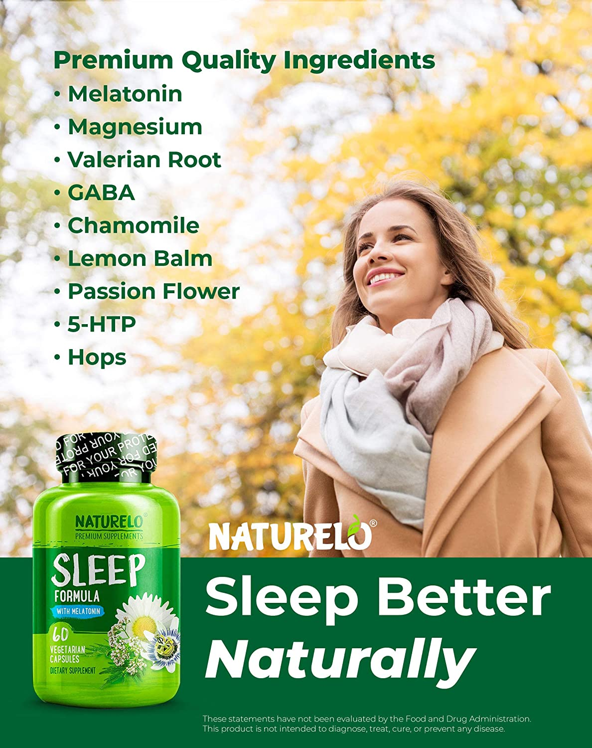 Amazon.com: NATURELO Natural Sleep Aid – with Melatonin, Magnesium, GABA, Valerian Root, Lemon Balm, Chamomile Extracts - Best Natural Sleeping Aid - 60 ...