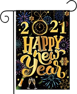 Tatuo 2021 Happy New Year Garden Flag 12 x 18 Inch Double Sided New Year House Burlap Outdoor Flags Sign, New Year Party Decorations Supplies