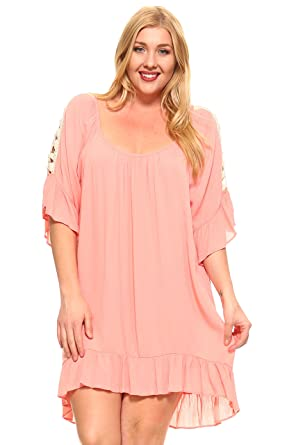 4b09bb86844 Marcelle Margaux Women s Plus Size Peplum Crochet High Low Dress - Pink -
