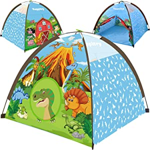 Happitry Kids Tent Indoor Playhouse, Kids Pop Up Play Tent for Toddler Boys and Girls Ages 3 4 5 6 Year Old and Up, Dinosaur and Farm Themed Fort for Kids, Gift for Birthday or Christmas