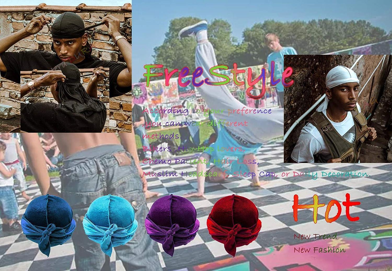 Velvet Durags for Men Waves 2//4 Pair Extra Long-Tail Du-rag Multiple Colors Du Rags for Waves