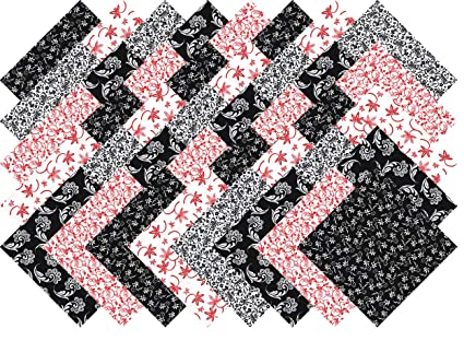 Red Black And White Collection 40 Precut 5 Inch Quilting Fabric Charm Squares