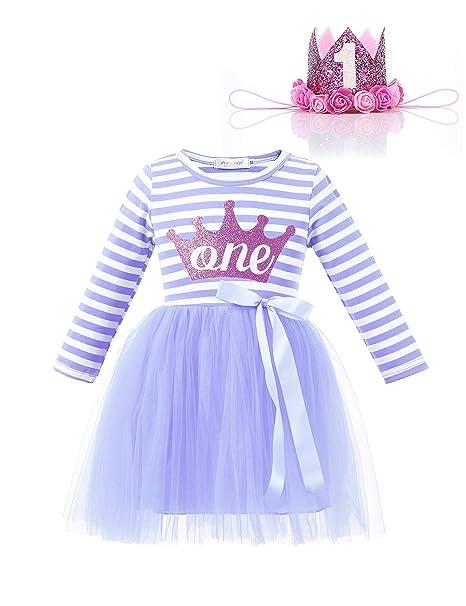 Amazon.com: Voveon - Vestido de cumpleaños para niñas de 1 a ...