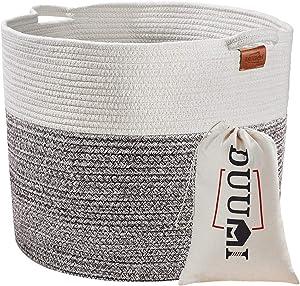"""DUUMI Large Basket Rope Basket 17"""" x 15"""",Toy Storage Basket Blanket Basket Cotton Basket Nursery Bin"""