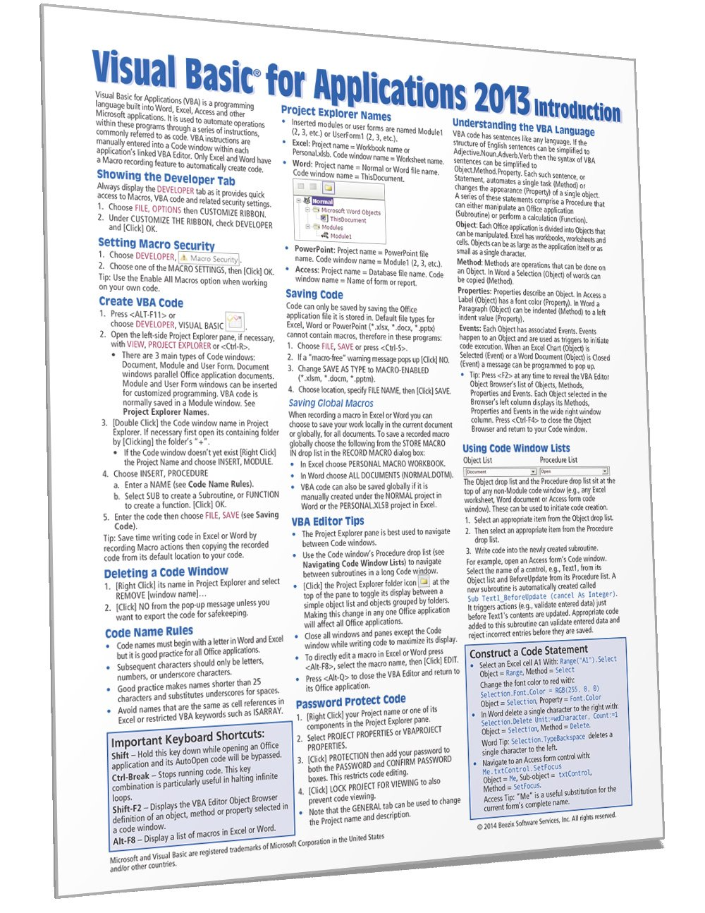 Visual Basic for Applications (VBA) 2013 Quick Reference ...