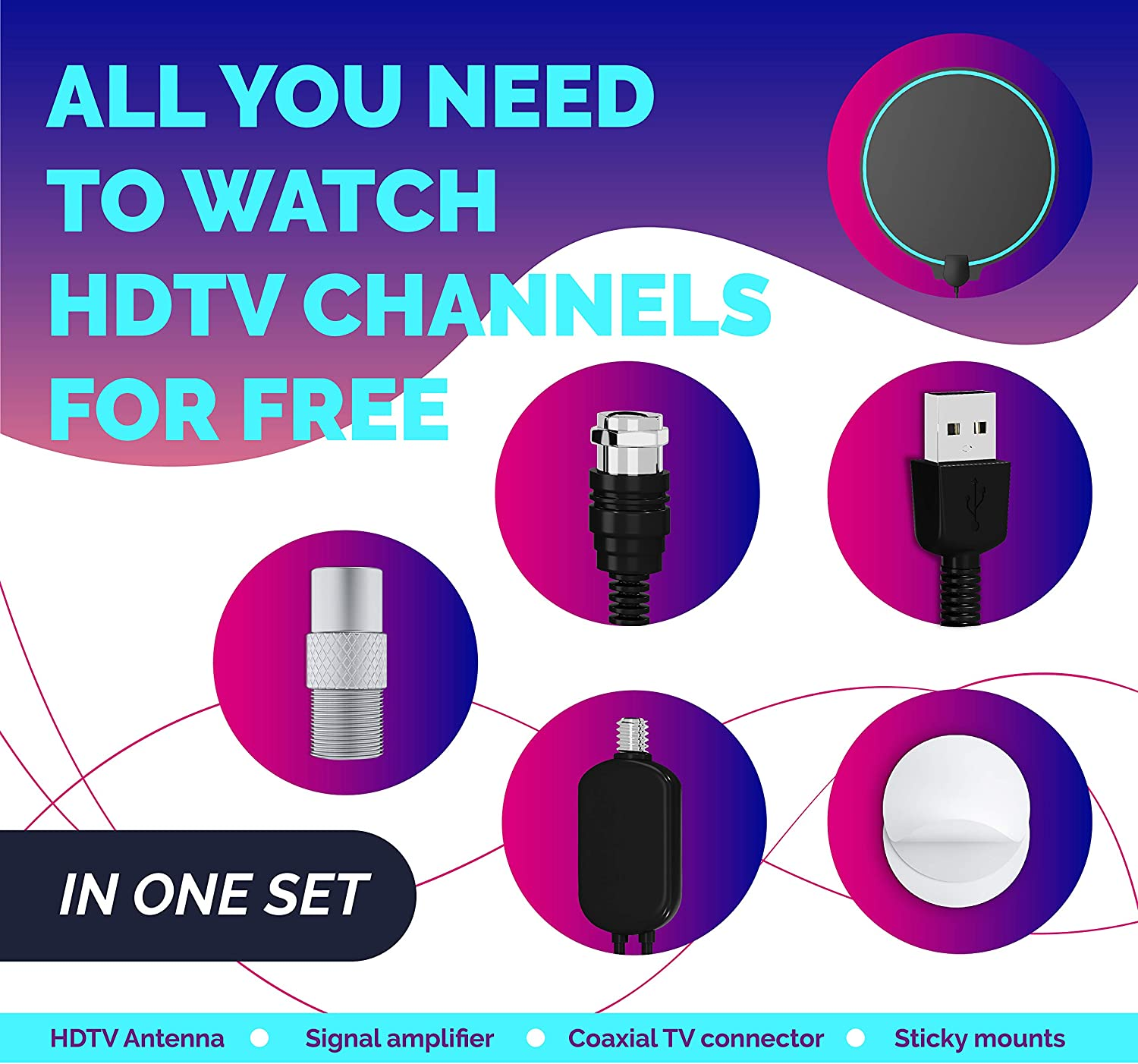 Amplified HD Digital TV Antenna 80-120 Miles Long-Range Reception Support 4K 1080p Indoor TV Digital HD Antenna Freeview Life Local Channels All Type Television Switch Amplifier Signal Booster 4