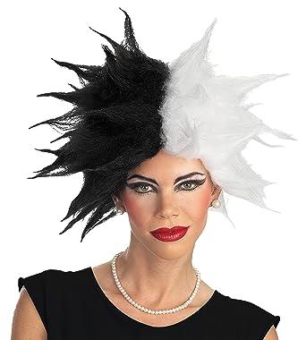 uhc disney 101 dalmatians cruella deville deluxe spiked halloween costume wig