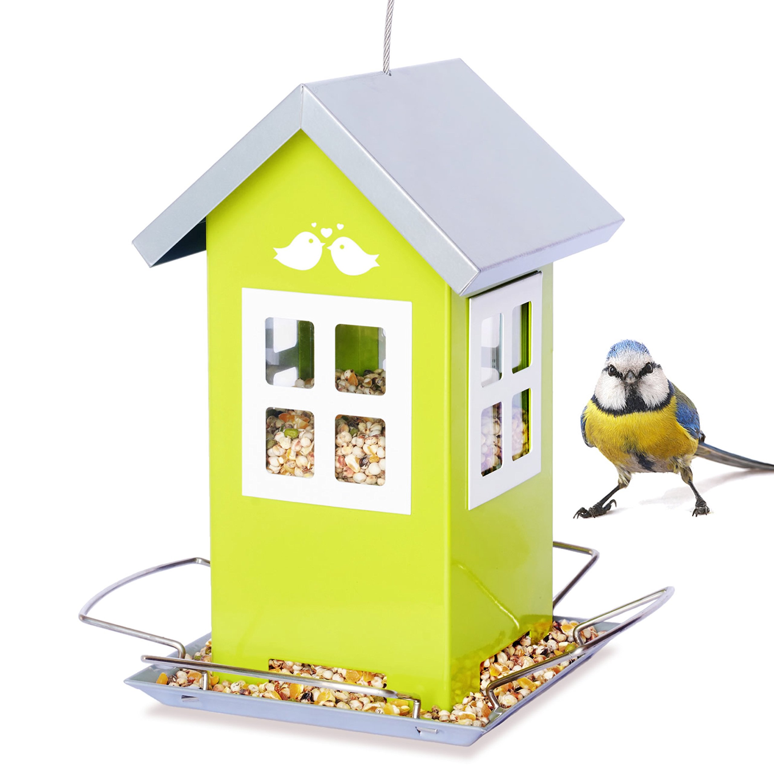 Bird Loveee Feeder House, Great Outdoor Garden Gift, Weatherproof Design, 4 Feeding Ports, Drains Rain Water to Keep Bird Seed Dry!