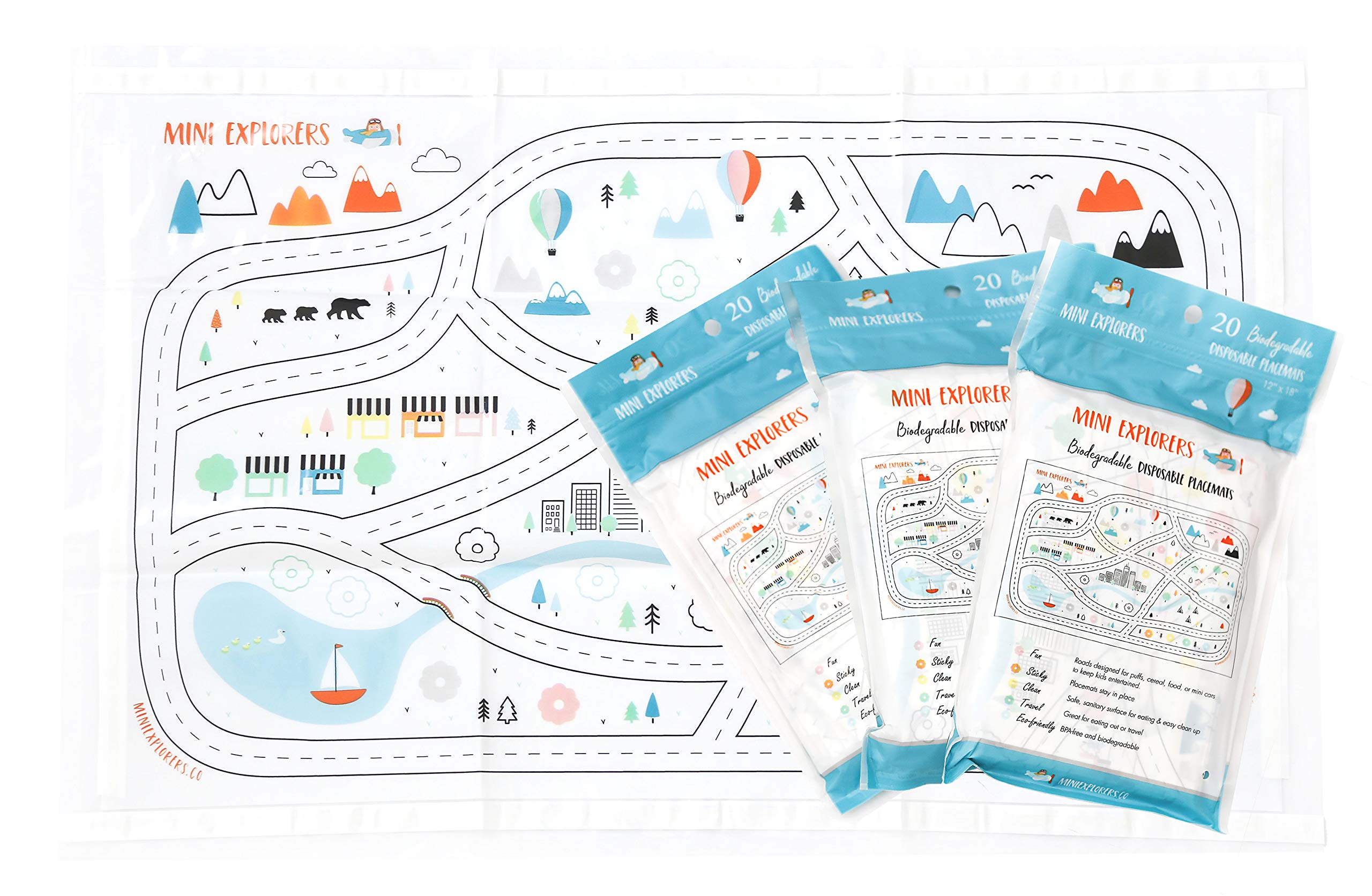 Disposable Placemats for Baby Toddlers Kids, Table Topper Disposable Placemats - Biodegradable BPA-Free Premium Super Sticky Stick-on Place Mats - Roadmap by Mini Explorers (60 Count)