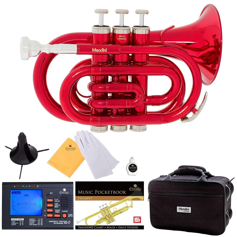 Mendini MPT-L Lacquer Brass Bb Pocket Trumpet, Gold Cecilio Musical Instruments MPT-L+SD+PB+92D