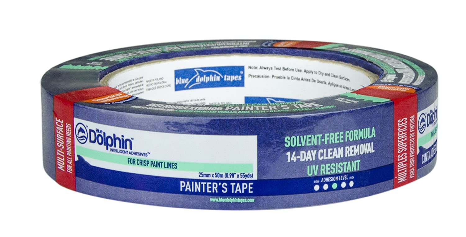 Blue Dolphin Masking Tape - 30 Days Easy Removal Painters Masking Tape (Oryginal) - 25mm x 50m