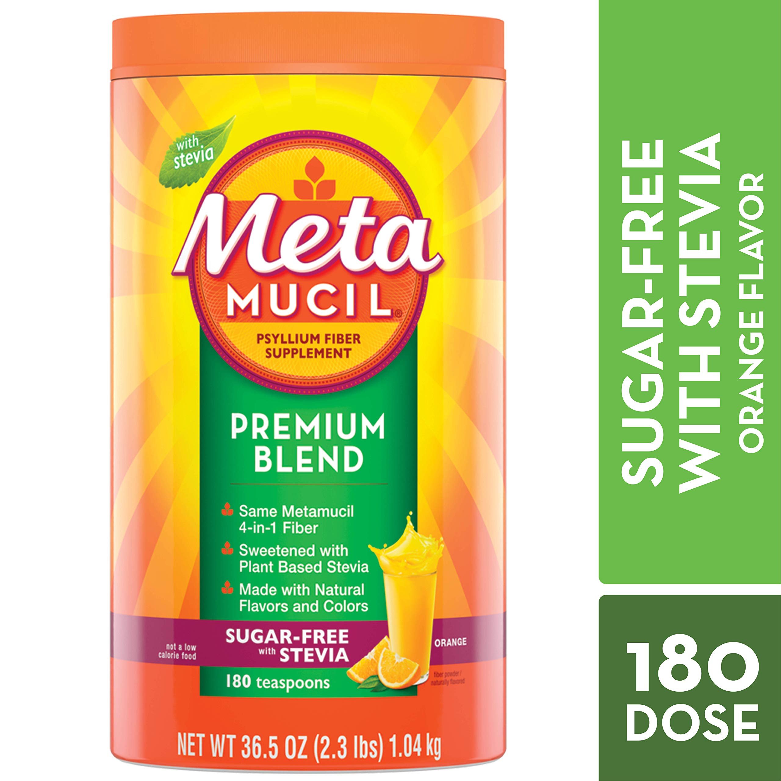 Metamucil Fiber, Premium Blend, Psyllium Fiber Powder Supplement, Sugar-Free with Stevia, Natural Orange Flavor, 180 Servings, 36.5 Ounce by Metamucil