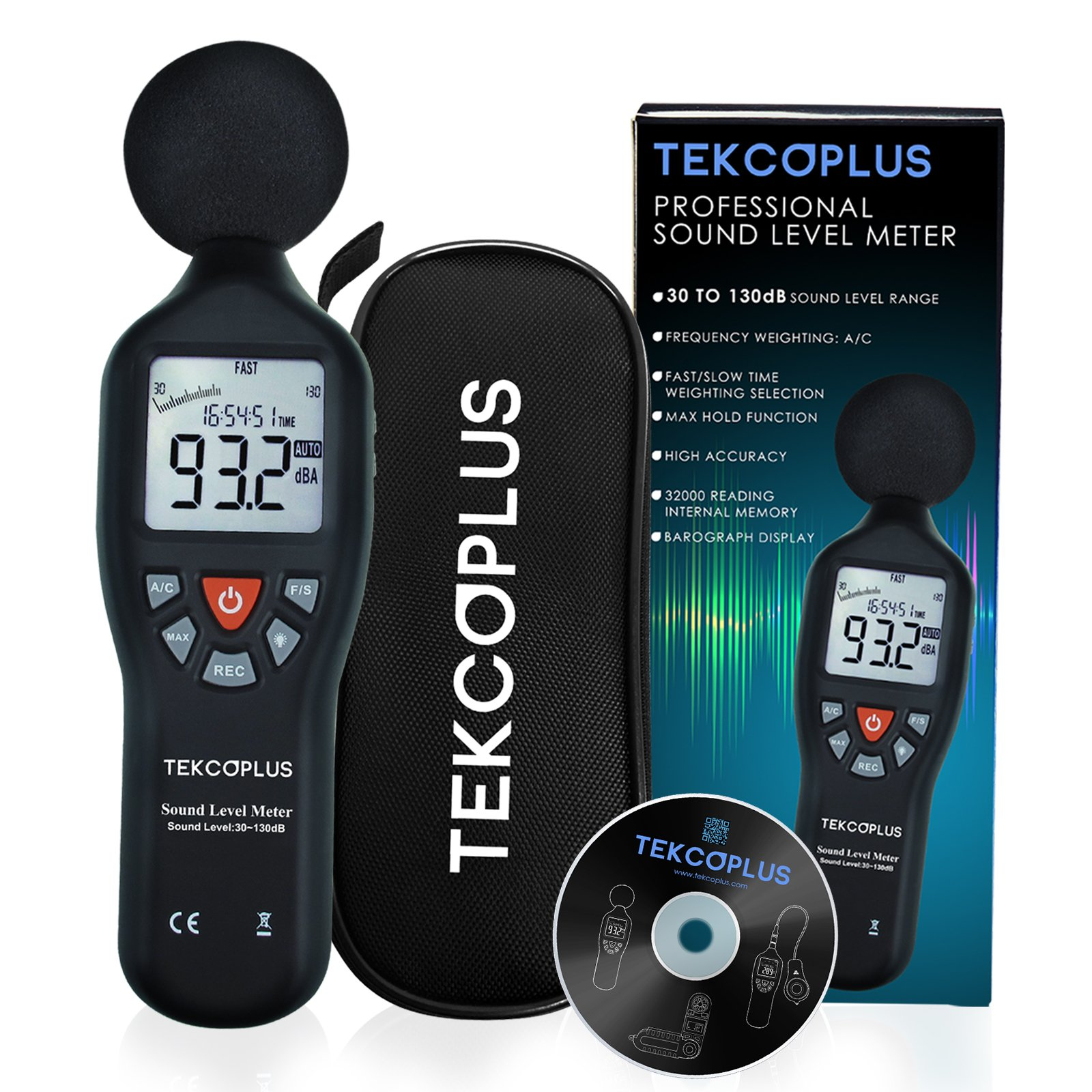 Data Logging Function Decibel Sound Level Meter with Backlight Display High Accuracy Measuring 30dB~130dB Instrument Compact Professional (with CD software)