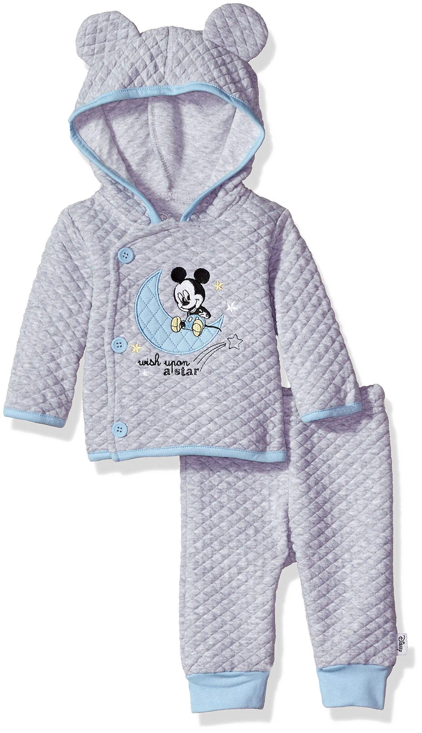 2cac40473 Galleon - Disney Baby Boys' Mickey Mouse 2 Piece Hoodie With Ears And Pant  Set, Lightheather Grey, 6-9 Months