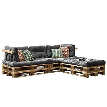 [en.casa] Cojines para sofá de palés europalés - set - 3 cojines de asiento + 5 cojines de respaldo gris claro - muebles DIY - ideal para salón - ...