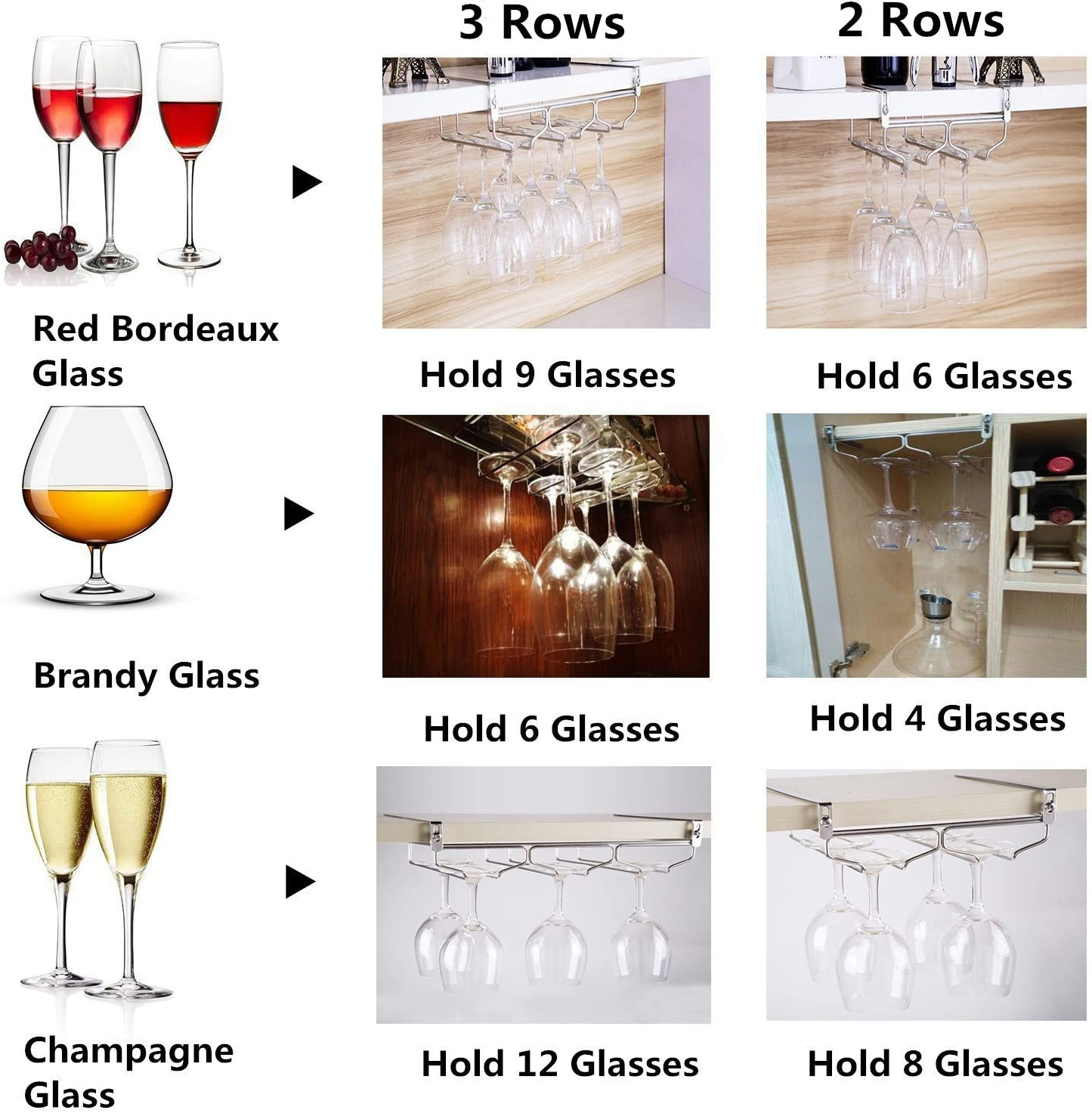 Adjustable Wine Glass Rack Without Installation Hold 9 Glass HULISEN Stemware Rack Champagne Glass Rack Holder with Screws
