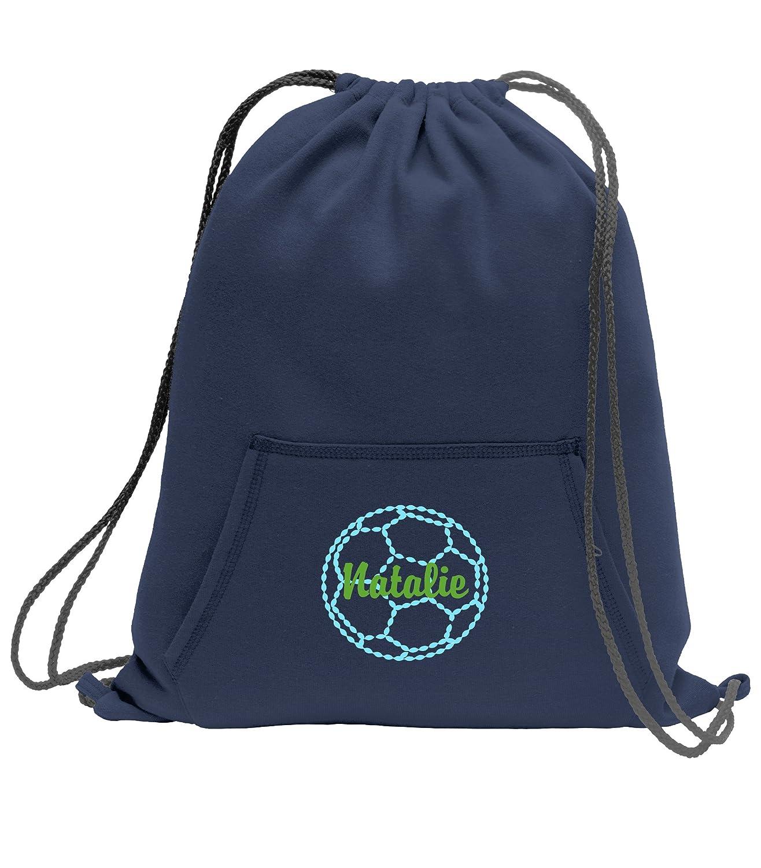 Personalizedサッカー – スウェットシャツCinch Bag with Front Pocket B01M0V9PIN ネイビー ネイビー