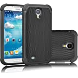 Galaxy S4 Case, Tekcoo(TM) [Tmajor Series] [Black/Black] Shock Absorbing Hybrid Rubber Plastic Impact Defender Rugged Slim Hard Case Cover Shell For Samsung Galaxy S4 S IV I9500 GS4 All Carriers
