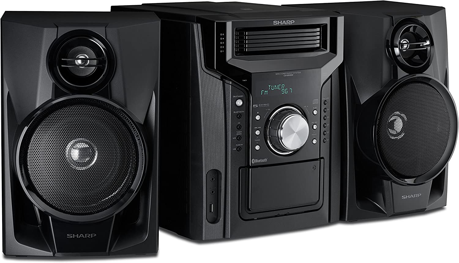 Sharp CD-BH950 Sharp 240W 5-Disc Mini Shelf Speaker System with Cassette and Bluetooth