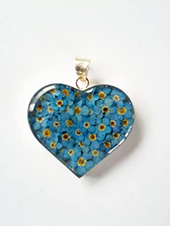 Big heart silver 925 dried pressed flower pendant blue forget me big heart silver 925 dried pressed flower pendant blue forget me not mozeypictures Images