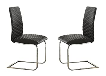 Homelegance Yannis Modern Metal Dining Chairs With Diamond Stitching (Set  Of 2), Gray