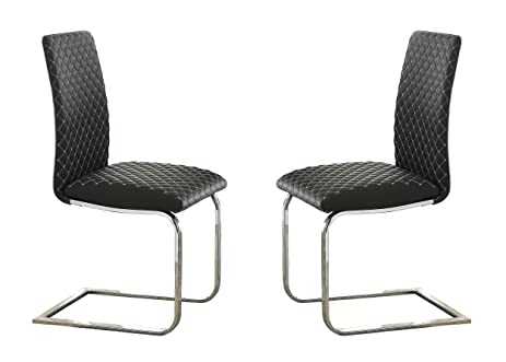 Ordinaire Homelegance Yannis Modern Metal Dining Chairs With Diamond Stitching (Set  Of 2), Gray