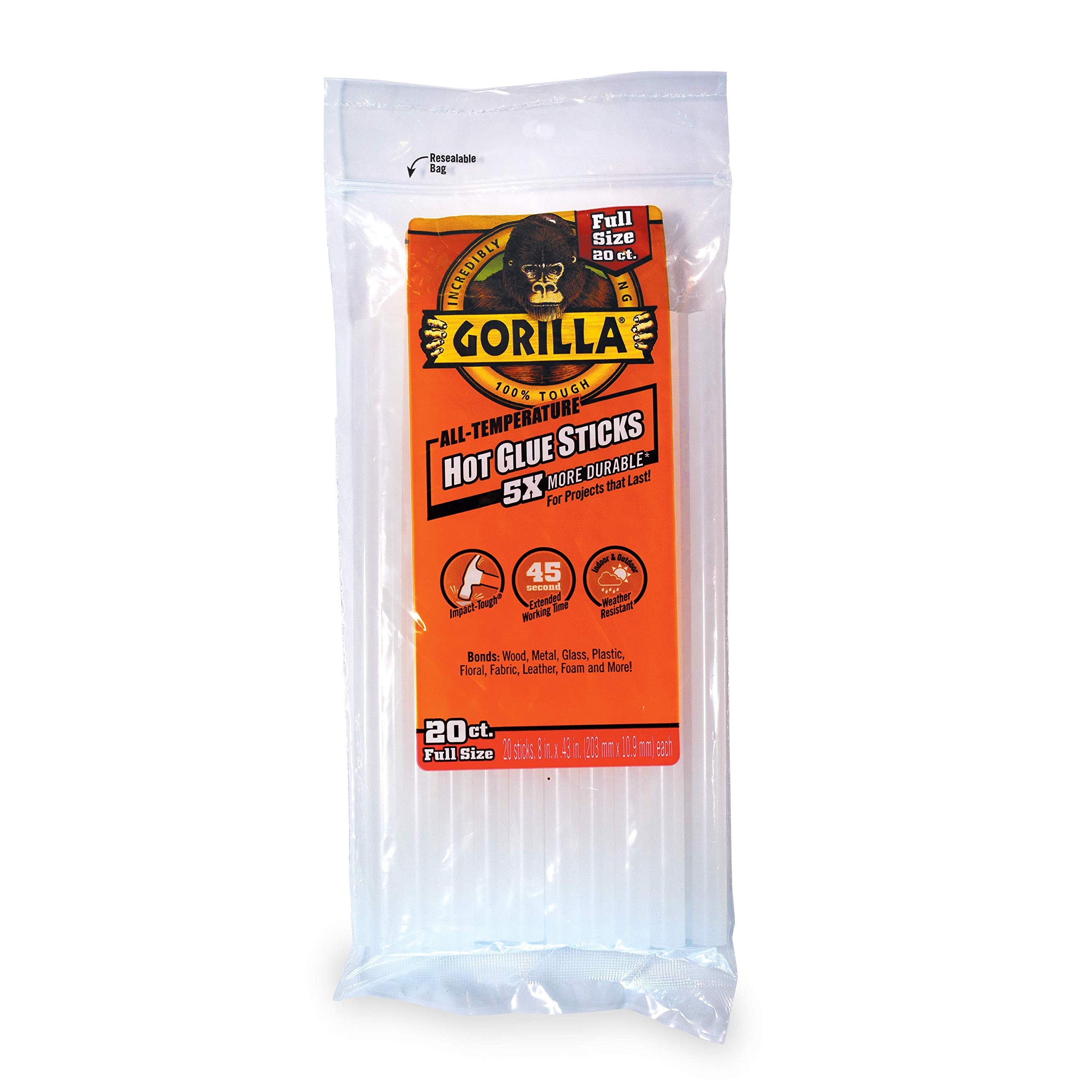Gorilla Hot Glue Sticks, Full Size, 8'' Long x .43'' Diameter, 20 Count, Clear, (Pack of 1)