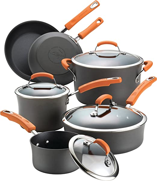 Rachael Ray Brights 10-piece Hard-Anodized Aluminum Nonstick Cookware Set