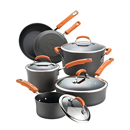 Delicieux Rachael Ray Hard Anodized Nonstick 10 Piece Cookware Set, Gray With Orange  Handles