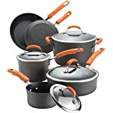 Rachael Ray Brights Hard-Anodized Aluminum Nonstick Cookware Set with Glass Lids, 10-Piece Pot and Pan Set, Gray with Orange