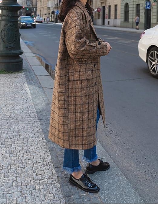 PDFGO Cappotti Donna Cappotto Di Lana Giacca Di Lana Cappotto Di Lana  Sciolto Spessore Lunga Sezione Ginocchio Abiti Invernali 29055d5a99f