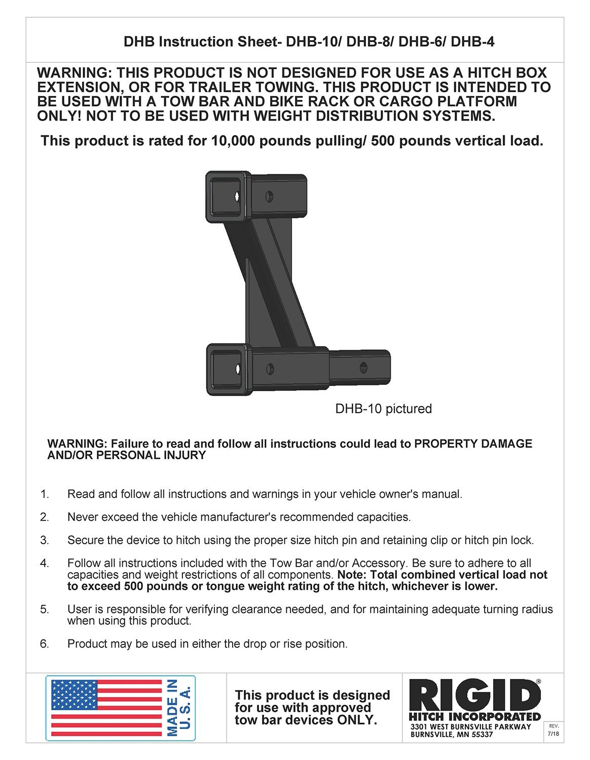 Rigid Hitch Tow Bar And Accessory Receiver - 8 Inch Drop/Rise (DHB-8) - Made In U.S.A.