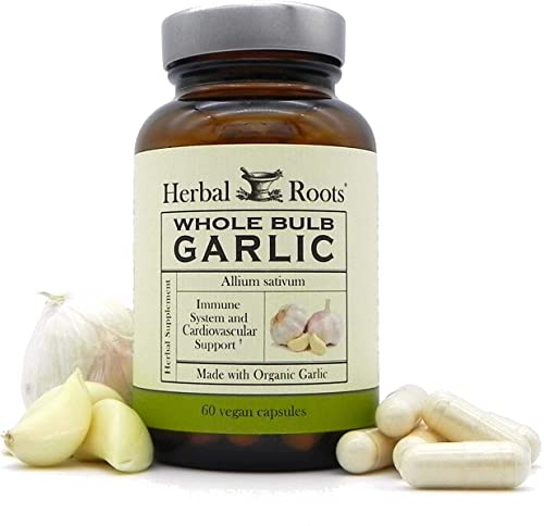 Mortar and Pestle Herbs Organic Whole Bulb Garlic Supplement Pills – No Soy – Potent Extra Strength – Immune Support – 600 mg, 60 Capsules – Made in The USA