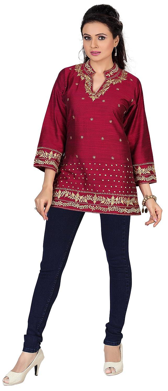 Amazon.com: Indian Tunic Top Kurti Womens Embroidered Cotton Silk ...