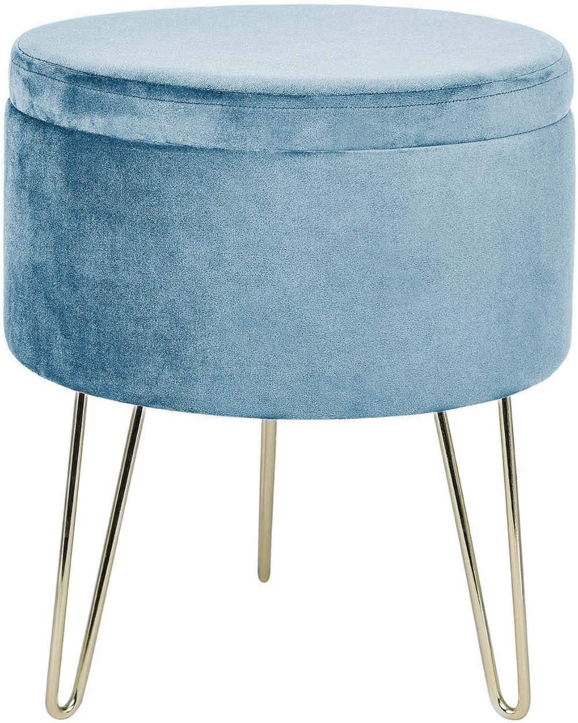 GLOVAL HOME Modern Round Velvet Storage Ottoman Footrest Stool/Seat with Gold Metal Legs & Tray Top Coffee Table,Vanity Stool (Light Blue)