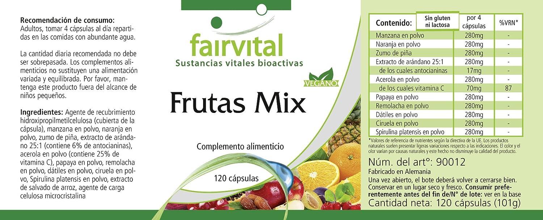 Fruit Mix - VEGANO - Altamente dosificado - 120 cápsulas ...
