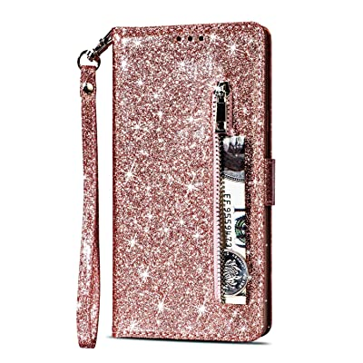 Zipper Wallet Case for Samsung Galaxy S8,Gostyle Samsung Galaxy S8 Bling Glitter Leather Case with Card Holder,Flip Magnetic Closure Stand Cover with Cash Pocket and Hand Strap-Rose Gold: Sports & Outdoors